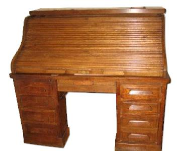 1920s Solid Oak Roll-Top Desk