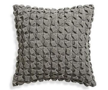 Crate & Barrel Willa Dove Grey Pillow Cover w/ Insert