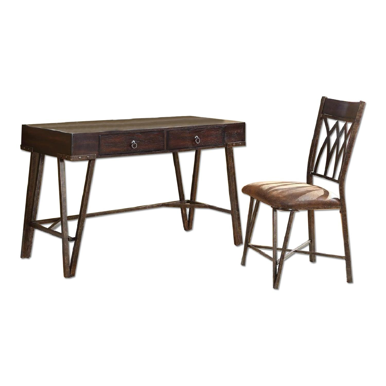 Dark Brown Writing Desk & Chair