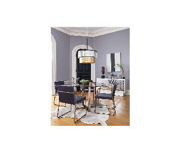 CB2 Silverado Brass Dining Table w/ 2 Rouka Chairs