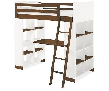 Room & Board Loft Bed w/ Desk & Decorative Shelving