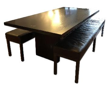 Black Wood Dining Table w/ 2 Leather Benches