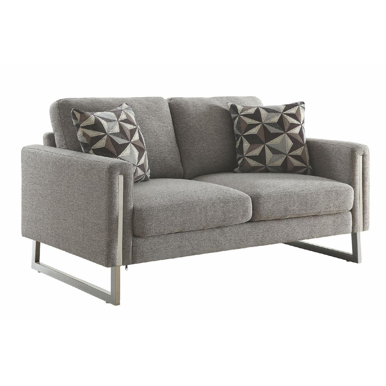 Modern Loveseat in Grey Fabric w/ U Shaped Steel Legs