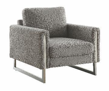 Modern Armchair in Grey Fabric w/ U Shaped Steel Legs