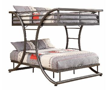 Full Over Full Steel Bunk Bed Finished in Gunmetal Finish
