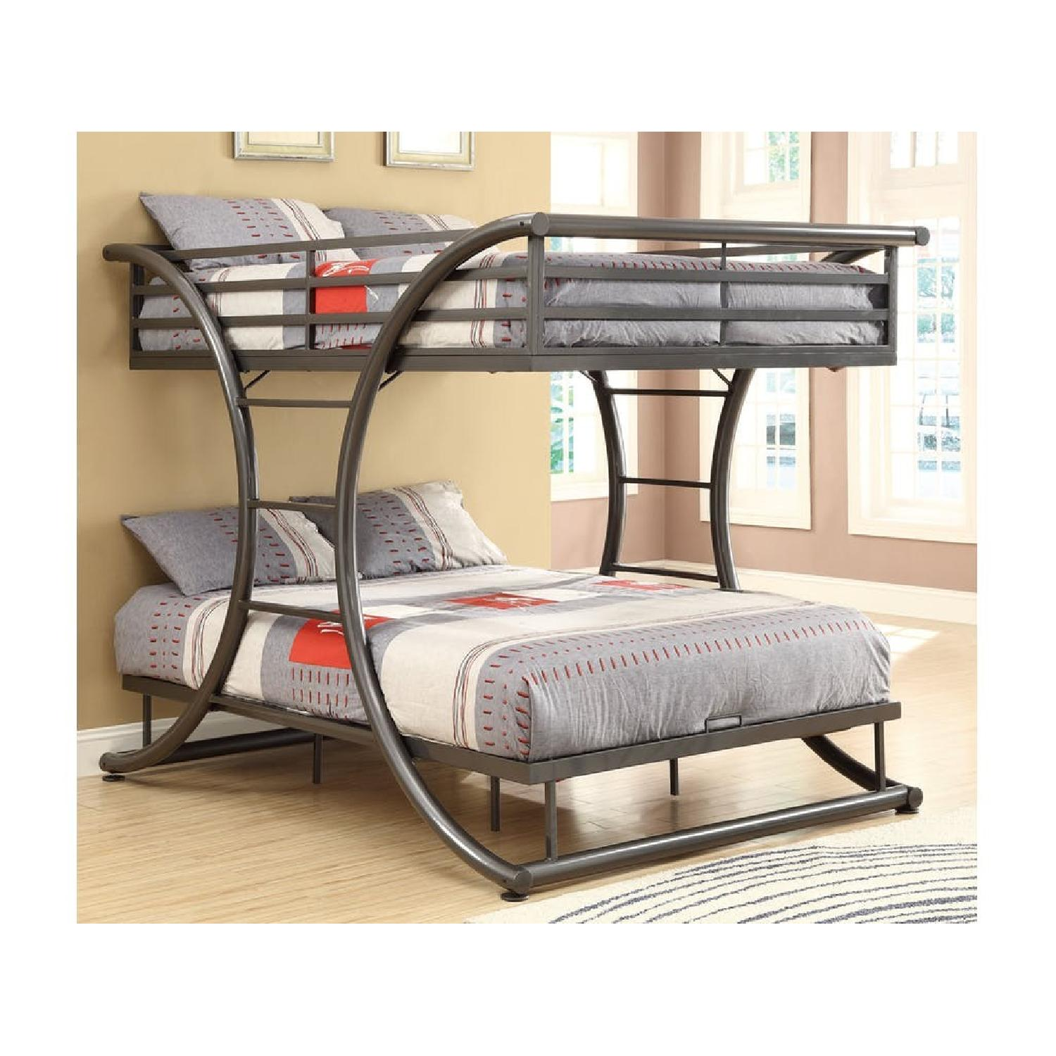 Full Over Full Steel Bunk Bed Finished in Gunmetal Finish - image-2