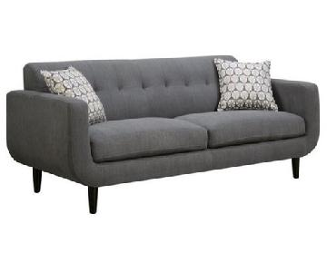 Retro Mid Century Style Sofa in Grey Linen-Like Fabric