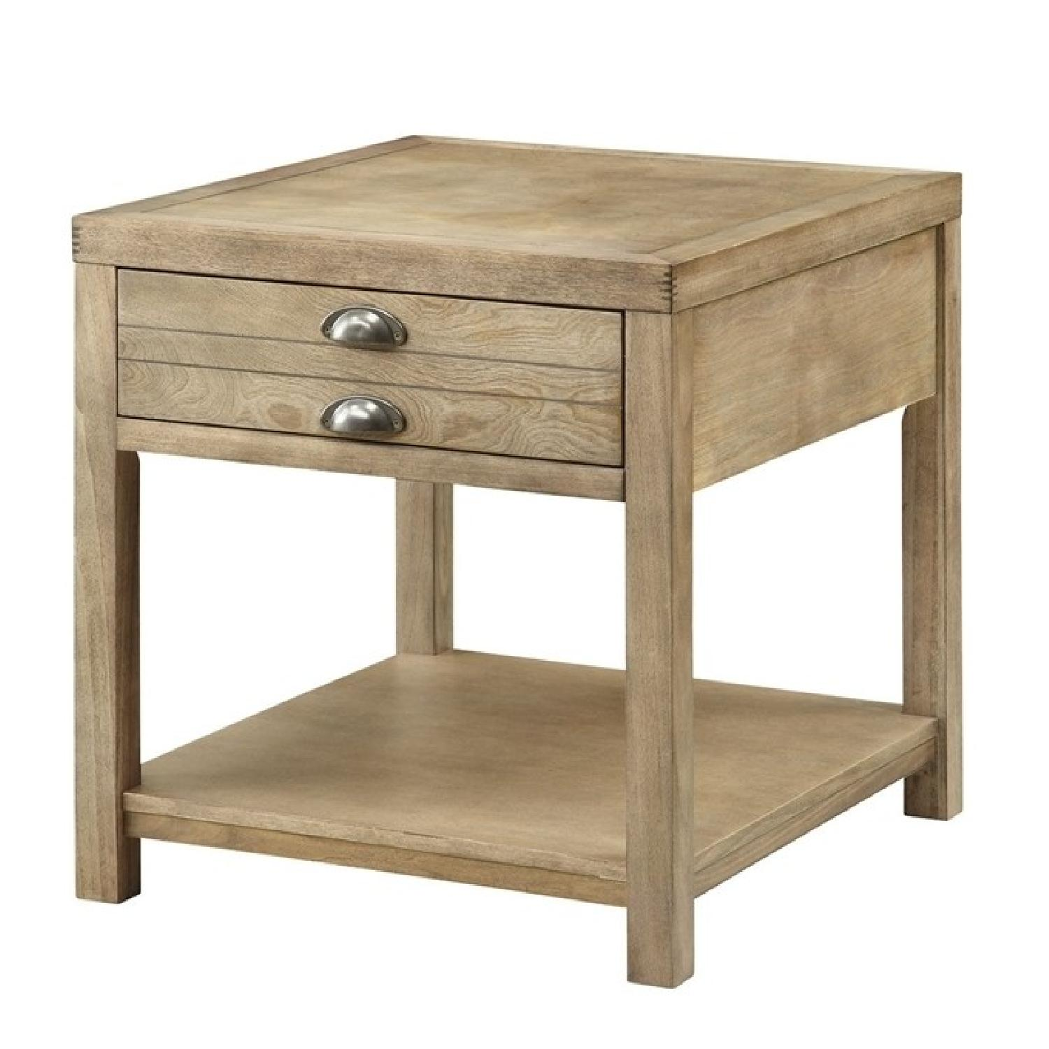 Craftsman Style End Table w/ Drawer in Driftwood Finish