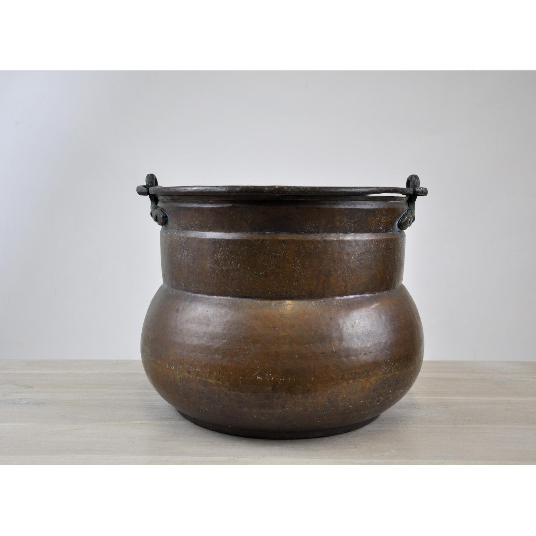 Antique Handmade Hammered Copper Pot Cauldron Kettle Aptdeco