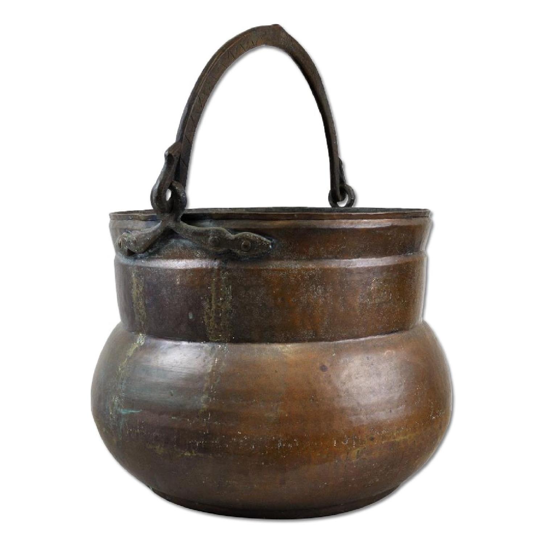 Antique Handmade Hammered Copper Pot Cauldron Kettle