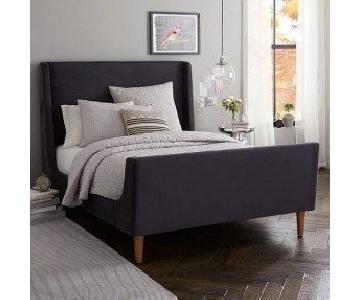 West Elm Queen Size Upholstered Sleigh Bed in Dark Grey