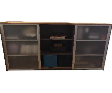 Wood Cabinet w/ Sliding Doors