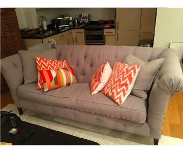 Walter E. Smithe Linen Tufted Custom Down Bench Cushion Sofa