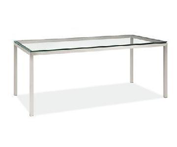 Room & Board Custom Portica Glass & Stainless Steel Desk