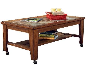 Ashley Toscana Rustic Brown Rectangular Cocktail Table