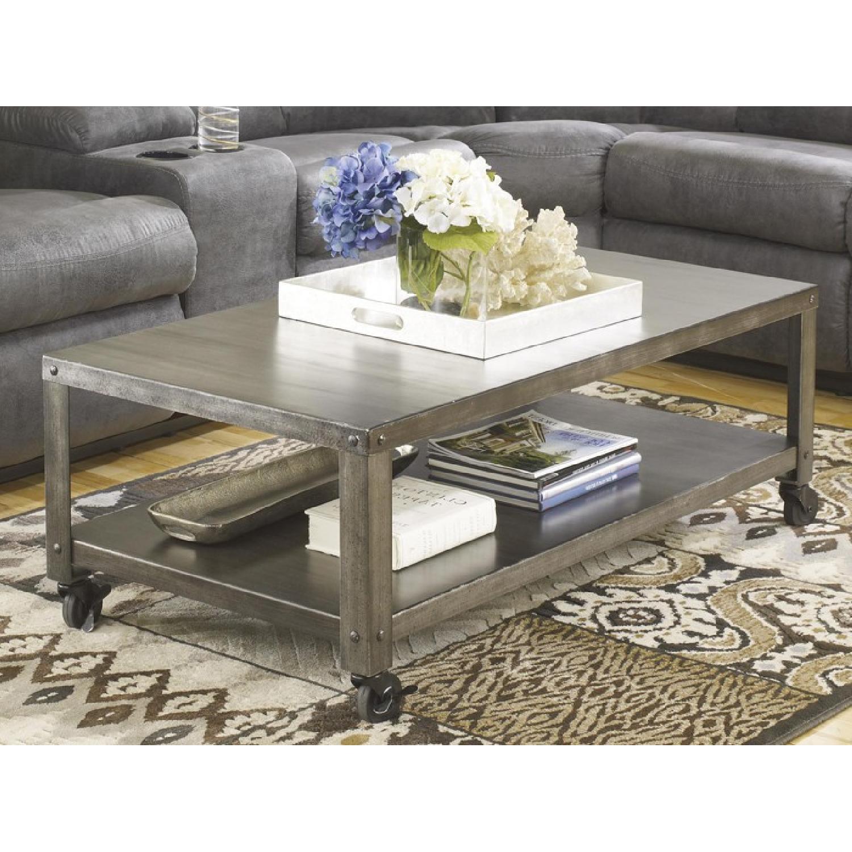 Ashley Furniture Hattney Gray Rectangular Coffee Table AptDeco
