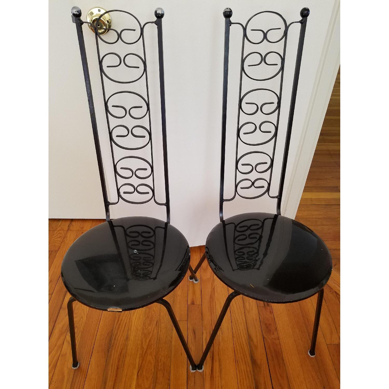 Black Metal Chair w/ Patterned Back