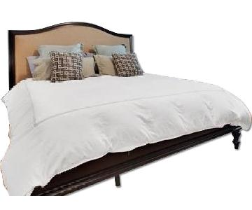 Raymour & Flanigan King Size Wood Bed w/ Cushioned Headboard