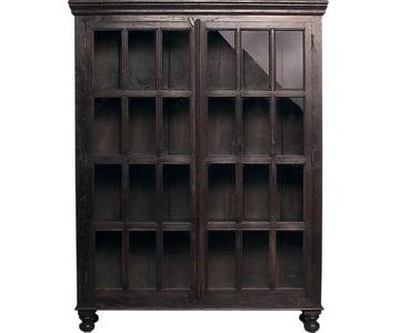 Crate & Barrel Wood & Glass Faulkner Library Cabinet