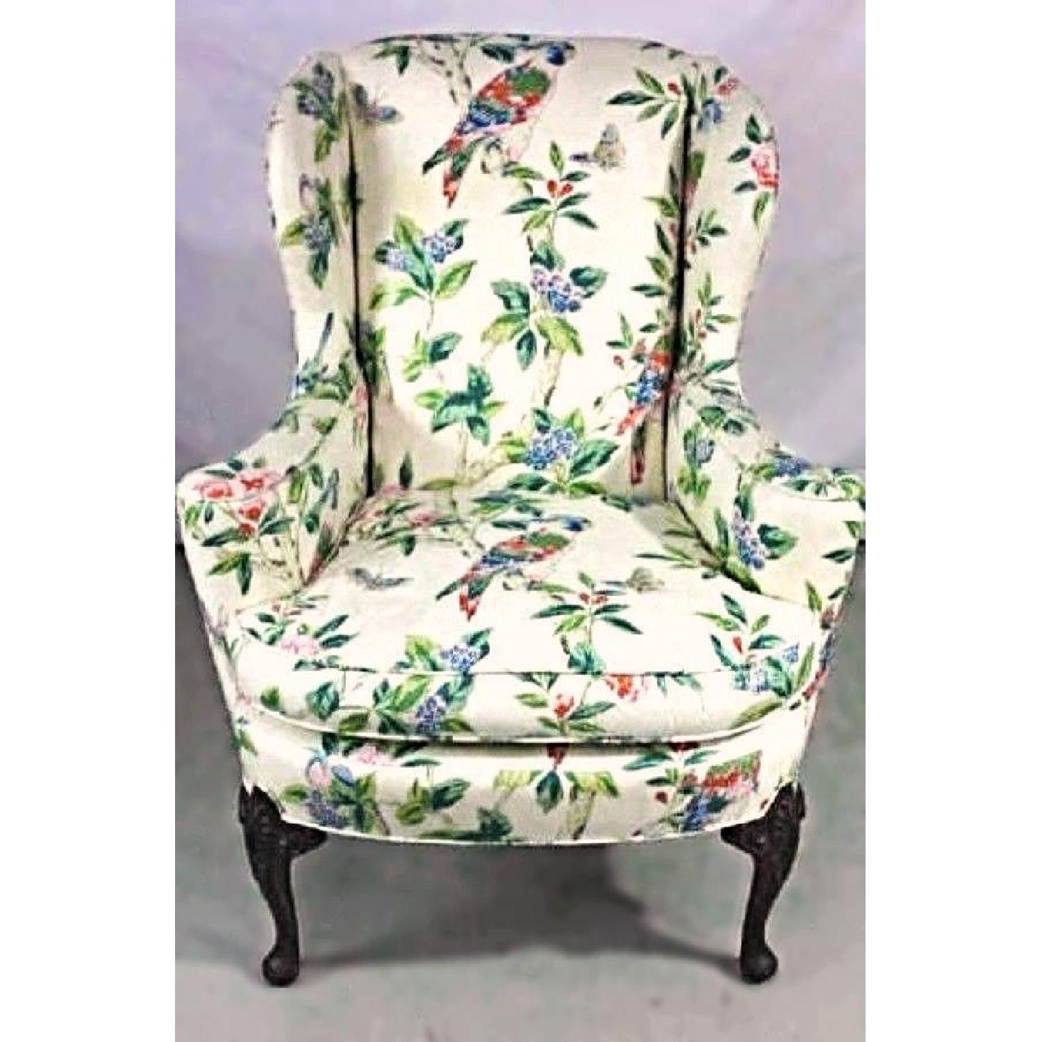 Parrot Exotic Upholstered Wingback Armchair & Ottoman-1