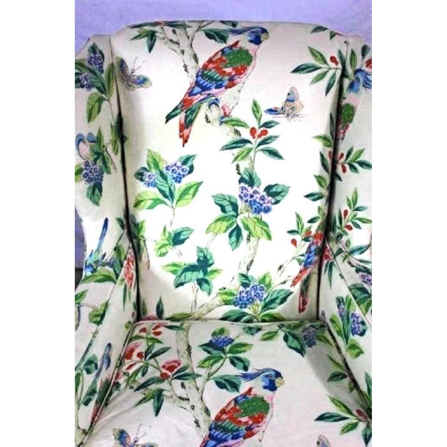 Parrot Exotic Upholstered Wingback Armchair & Ottoman-3