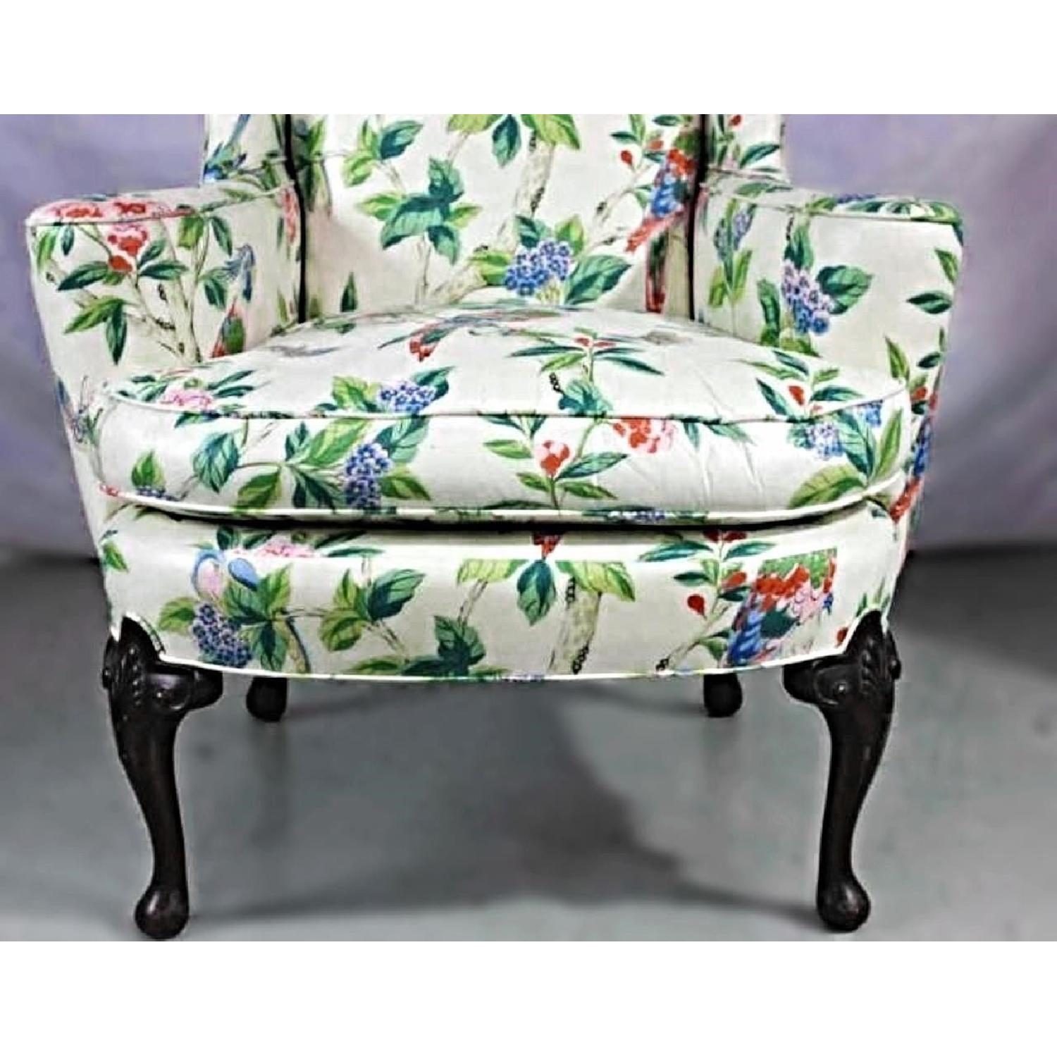 Parrot Exotic Upholstered Wingback Armchair & Ottoman-6