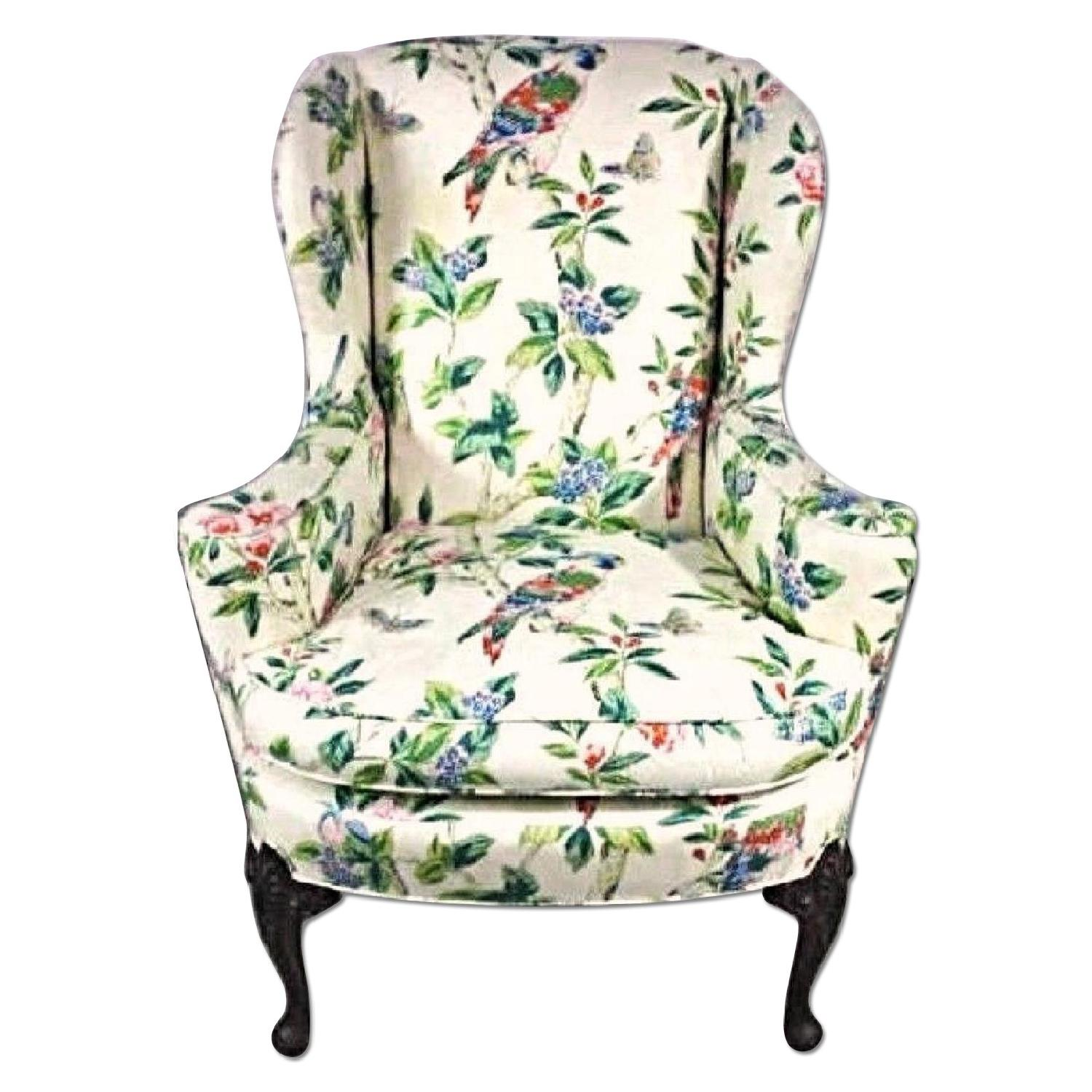 Parrot Exotic Upholstered Wingback Armchair & Ottoman