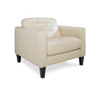 Macy's Cream Leather Armchair