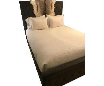West Elm Dark Grey Tufted Queen Bed