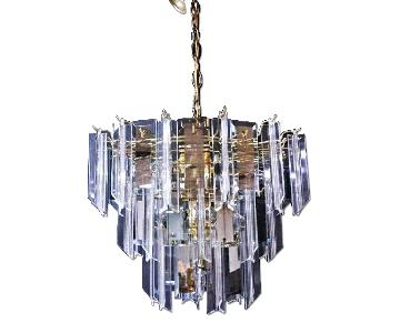 Lucite Smoked Glass Mirror Chandelier