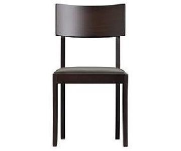 Crate & Barrel Leather Seat Dining Chair