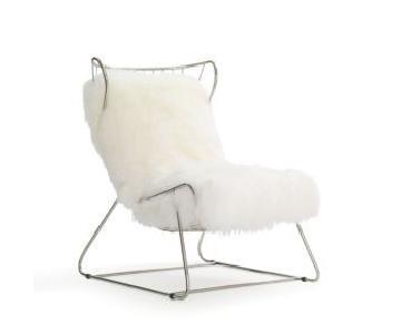 Mitchell Gold + Bob Williams Enzo Tibetan Fur Chair in White