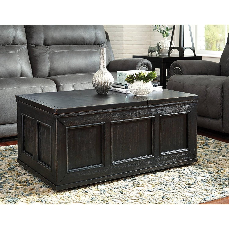 Ashley Furniture Gavelston Black Lift Top Coffee Table AptDeco