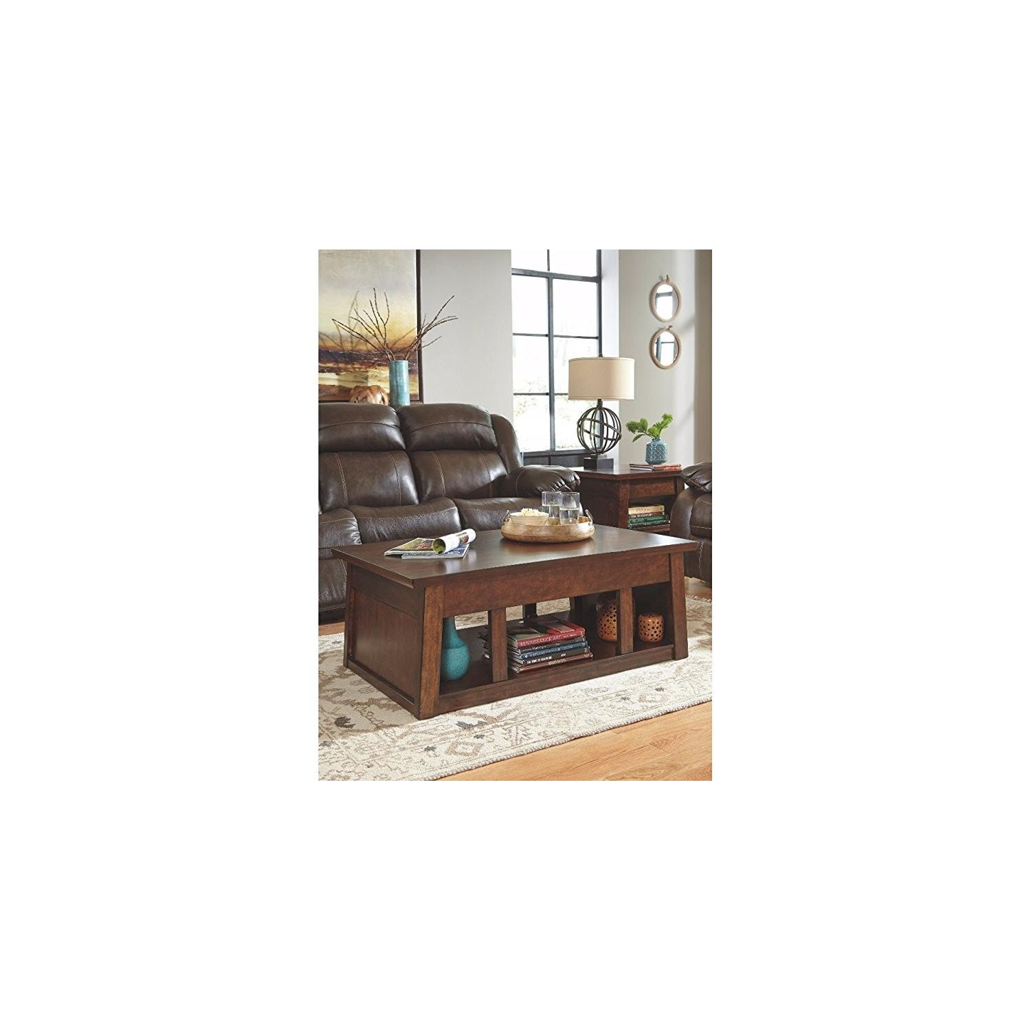 Ashley Furniture Harpan Reddish Brown Lift Top Coffee AptDeco