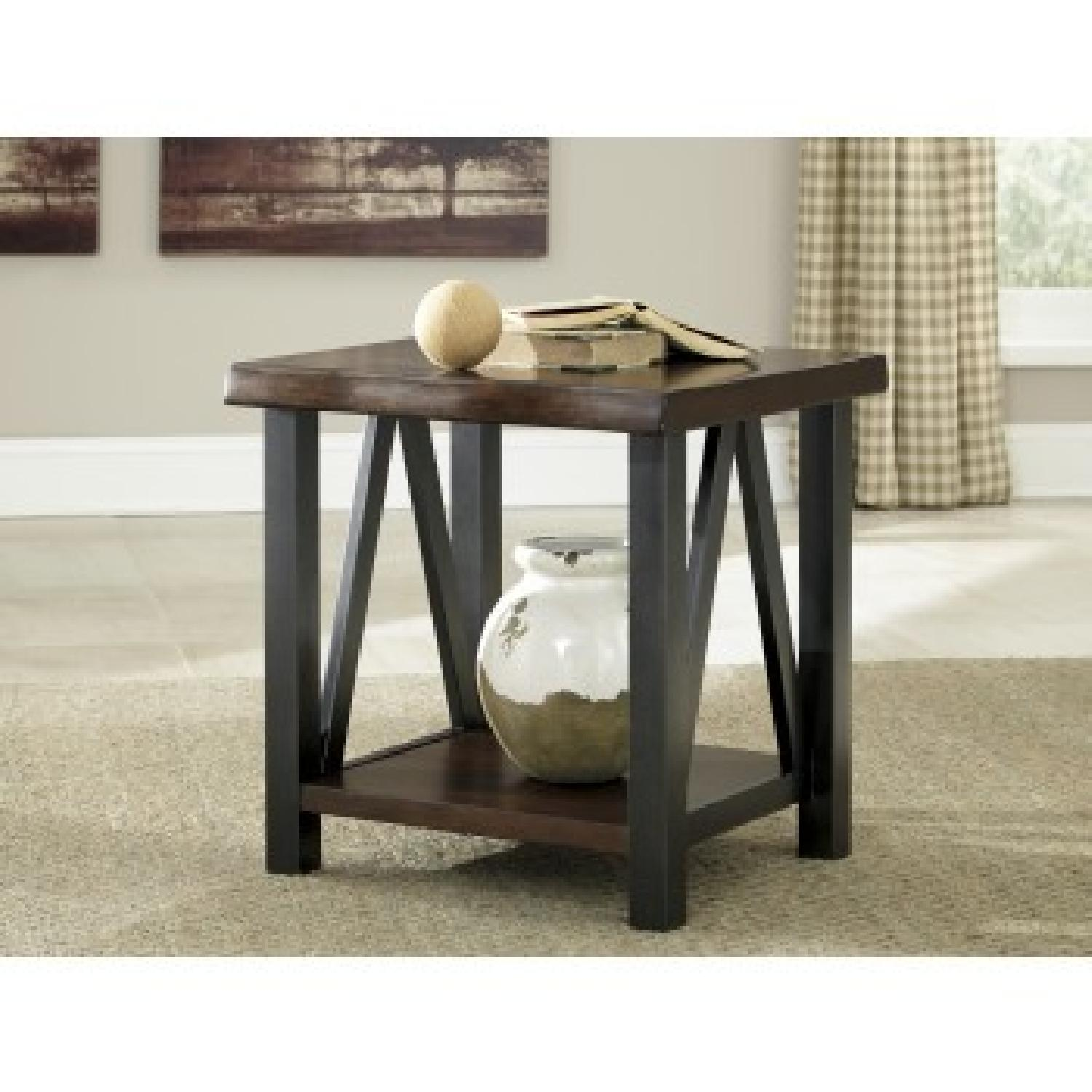 Ashley Furniture Esmarina Walnut Brown Square End Table AptDeco