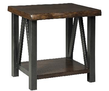 Ashley Furniture Esmarina Walnut Brown Square End Table
