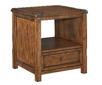 Ashley Furniture Tamonie Medium Brown Square End Table