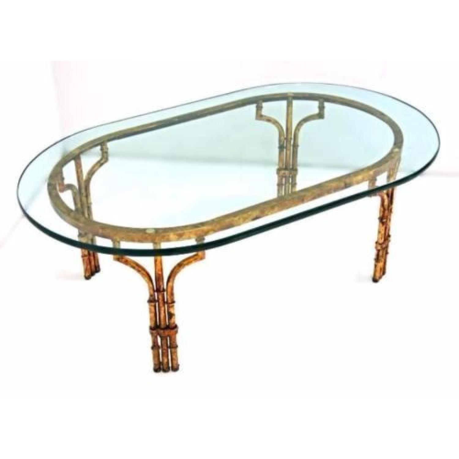 Faux Bamboo Mid Century Modern Oval Glass Top Coffee Table