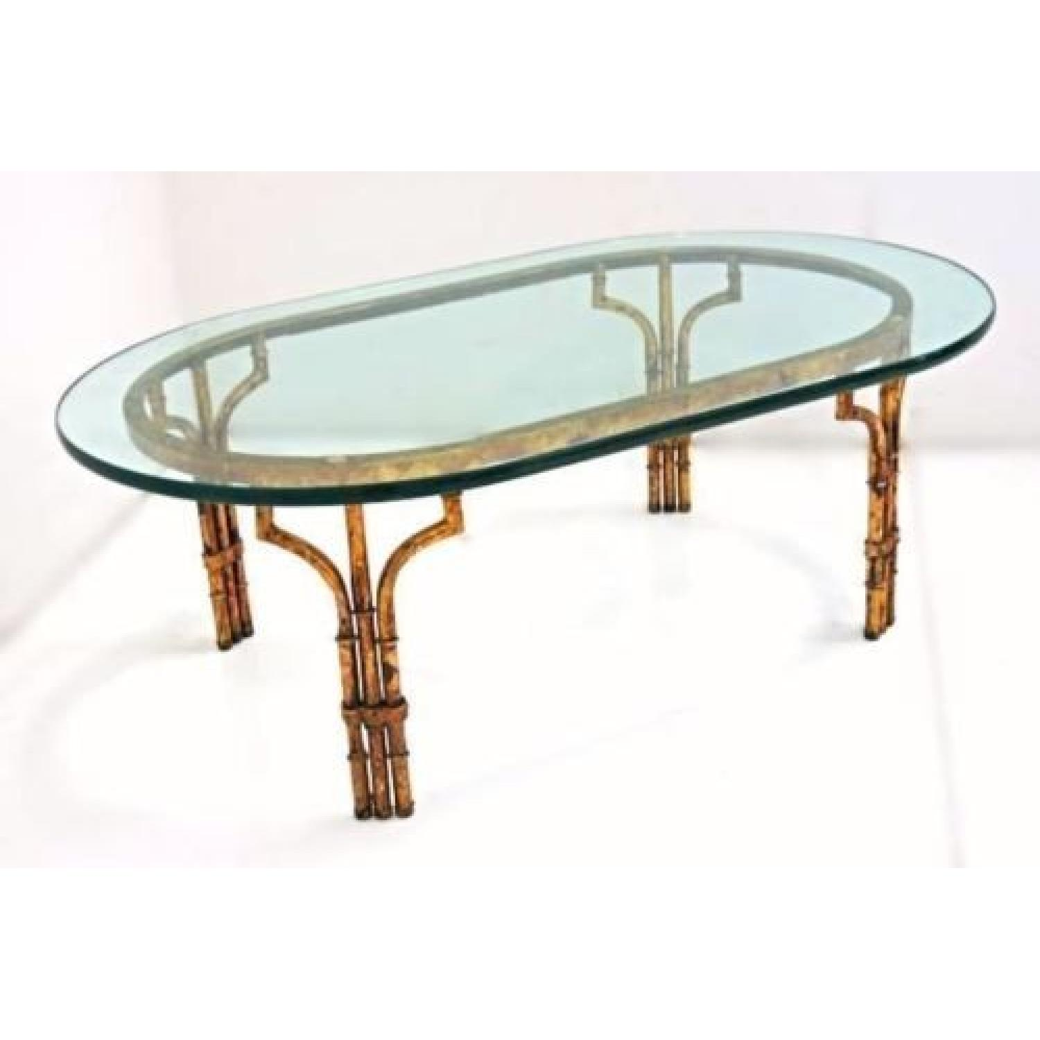 Picture of: Faux Bamboo Mid Century Modern Oval Glass Top Coffee Table Aptdeco