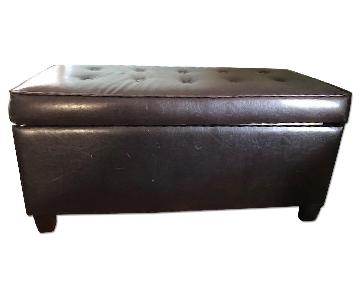 Tufted Faux Leather Ottoman Bench