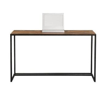 Crate & Barrel Fulton Teak & Oxidized Metal Desk
