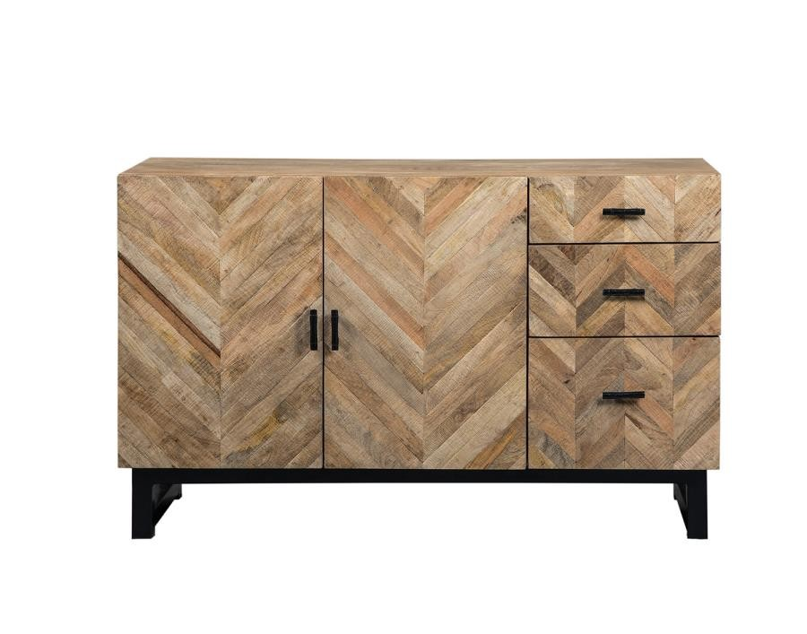 Coaster Thompson Rustic Server w/ Chevron Inlay Pattern