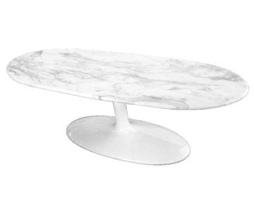 Coffee Table w/ White Marble Top & Fiberglass Base