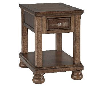 Ashley Furniture Flynnter Medium Brown Chair Side End Table