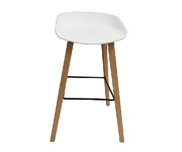 Retro Style Counter Chair w/ White PP Shell & Beechwood Legs