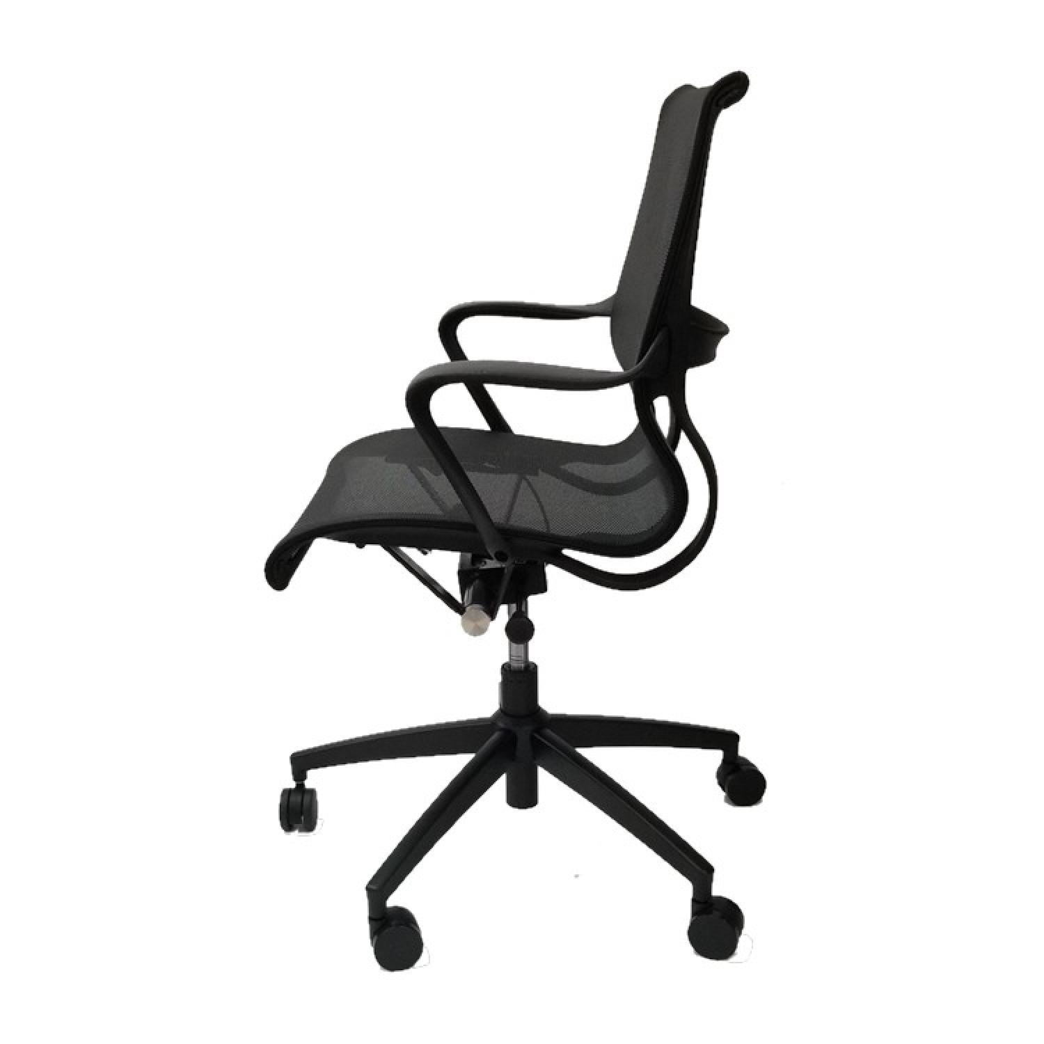 Modern Office Chair w/ Armrests & Black Mesh Fabric - image-1