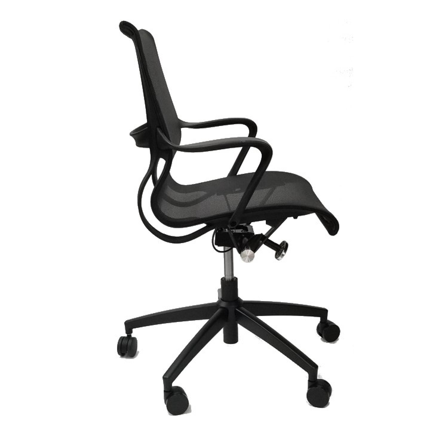 Modern Office Chair w/ Armrests & Black Mesh Fabric - image-2