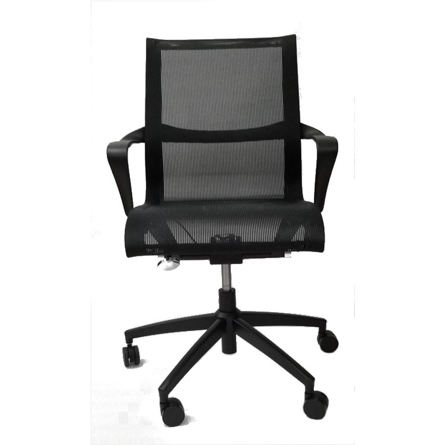 Modern Office Chair w/ Armrests & Black Mesh Fabric - image-3