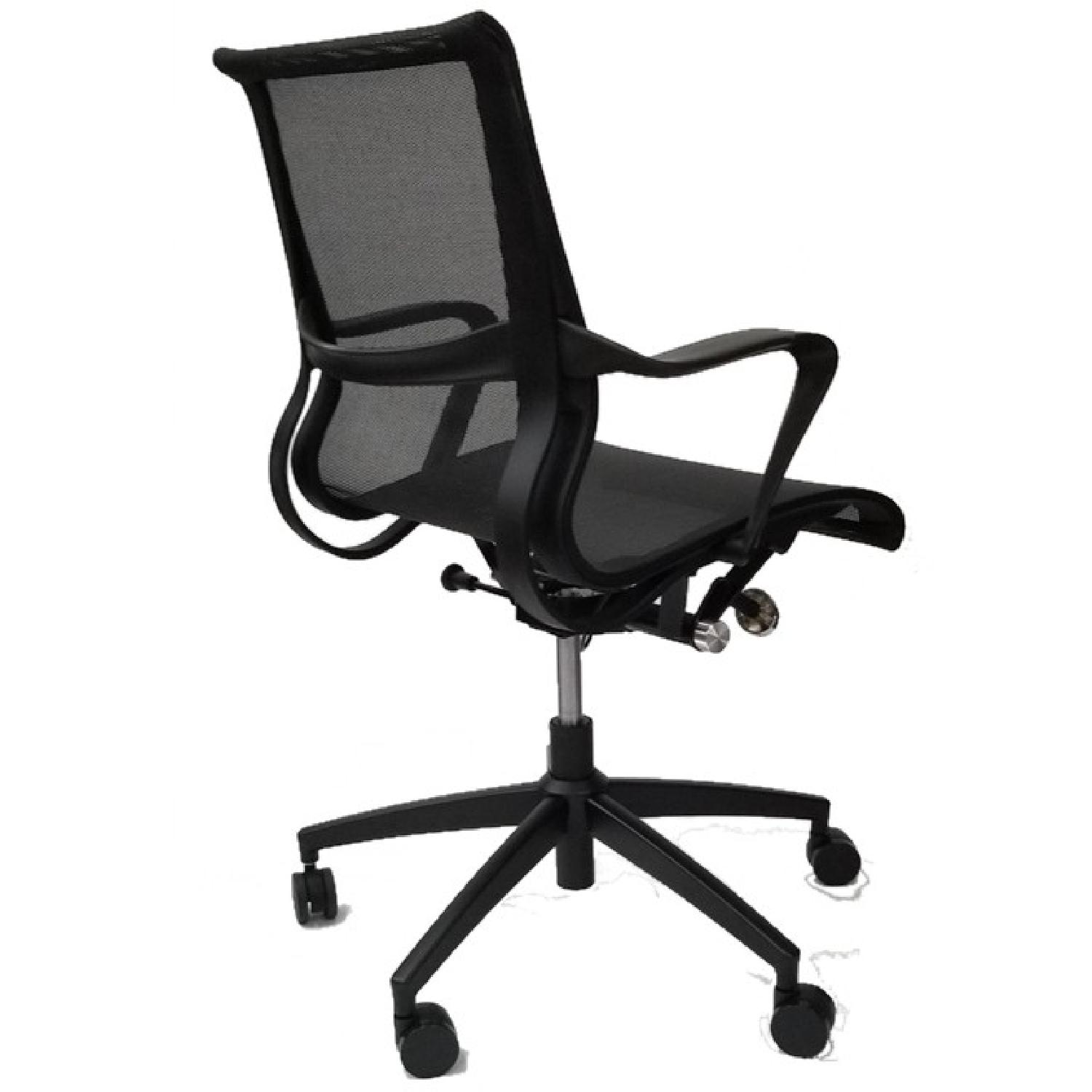 Modern Office Chair w/ Armrests & Black Mesh Fabric - image-0