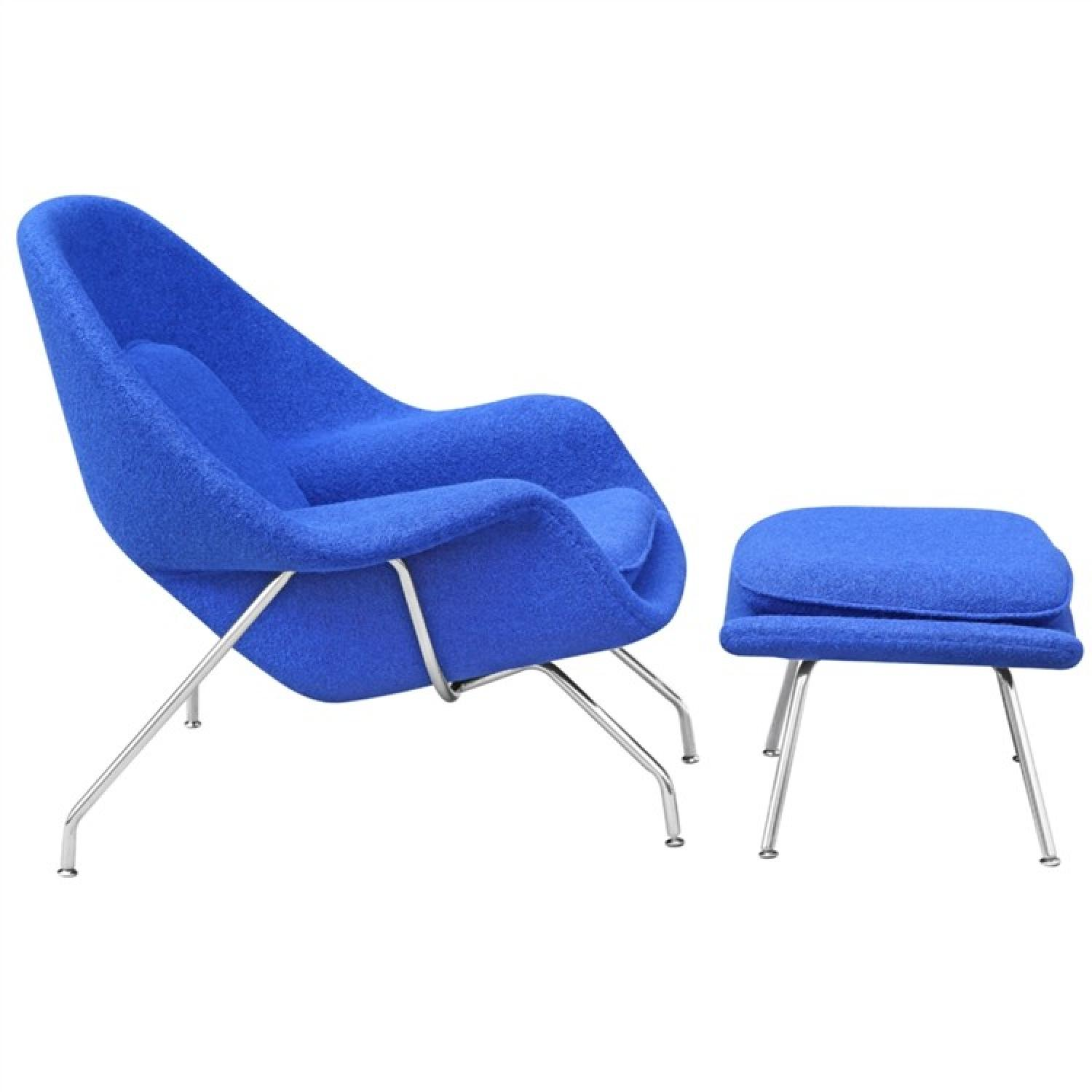 Mid Century Style Accent Womb Chair & Ottoman in Blue Wool